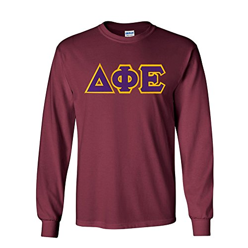 Delta Phi Epsilon Lettered Long Sleeve Tee Small Maroon