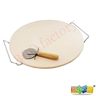 bbq factory® 15 inch Round oven Ceramic Pizza Stone and Pizza Cutter, For Oven