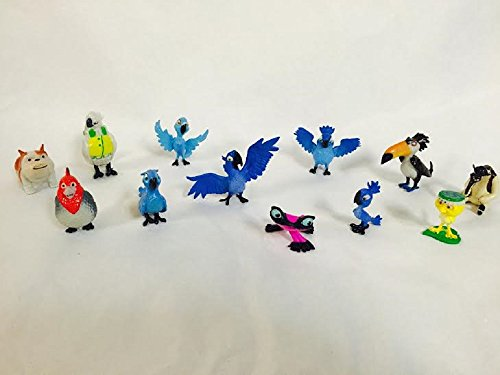 Rio Movie Set of 12 Bird Figure Cake/Cupcake Toppers and Party Favors with Blu, Jewel, the 3 Kids, Luiz, Nigel, Gabi, Charlie and - Rio Del Stores