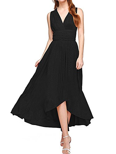 Women's Transformer Infinity Hi-Low Dress Multi-Way Wrap Convertible Maxi Dress Black L (Long Twist Strap Dress)