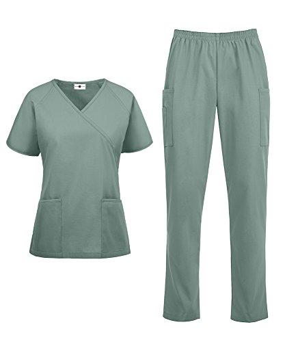 Women's Medical Uniform Scrub Set – Includes Mock Wrap Top and Elastic Pant (XS-3X, 14 Colors) (X-Small, (Discount Medical Scrubs)