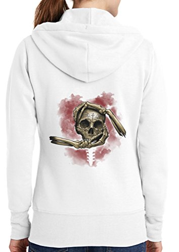 Womens Skull Hands Full Zip Hoodie, White, 4X