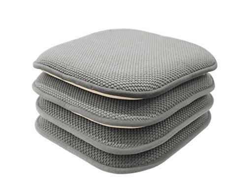 GoodGram 4 Pack Non Slip Honeycomb Premium Comfort Memory Foam Chair Pads/Cushions – Assorted Colors (Gray)