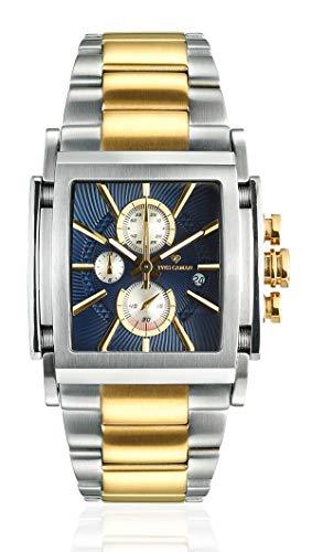 Dial Steel Strap - YVES CAMANI ESCAUT Men's Wrist Watch Chronograph Analog Quartz Silver Golden Stainless Steel Strap Blue Dial YC1060-K