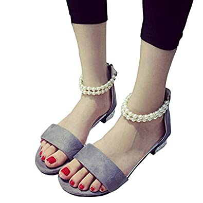 YFF Peep Toe Sandalen Raupe künstliche Perle Kette Kristall Ferse Reißverschluss wickeln Schuhe Wohnung mit Frauen Schuhe, schwarz, 5.