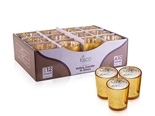 KISCO CANDLES: 10 Hour Votive Candles with Holders Gold Decorative Glass Home Decor, Beautiful Living Room, Kitchen, Bathroom Lighting | Long-Lasting Wax | 12-Pack ()
