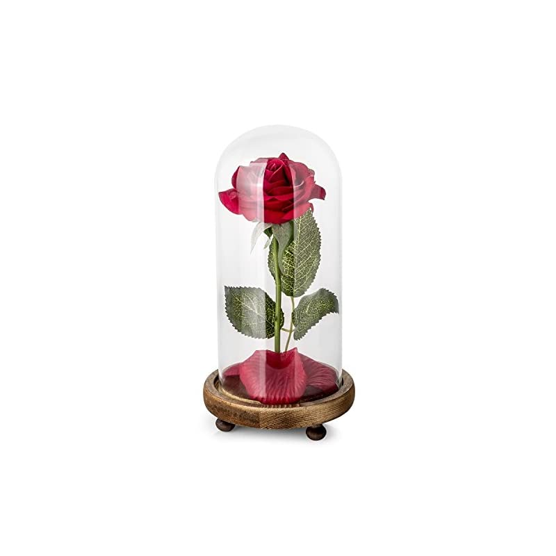 silk flower arrangements carlsbe beauty and the beast rose,for mother's day holiday party wedding anniversary birthday home decor,red silk rose and led light with fallen petals in glass dome on wooden base
