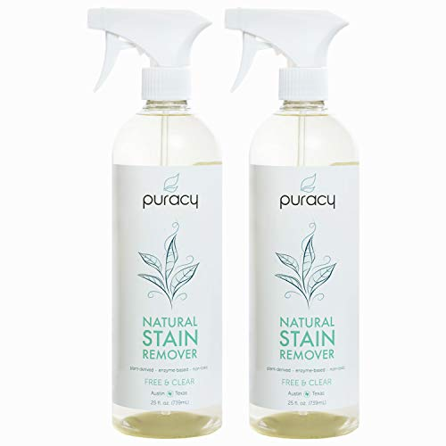 Puracy Natural Laundry Stain Remover, Enzyme Odor Eliminator, Free & Clear, 25 Ounce (2-Pack) (Watermelon Cleaning Supplies)