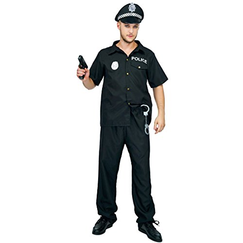flatwhite Adult Man's Police Costumes Black]()