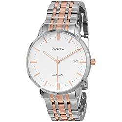 Sinobi Men's Automatic Silver Tone and Rose Tone Stainless Steel Watch White Dial W9454