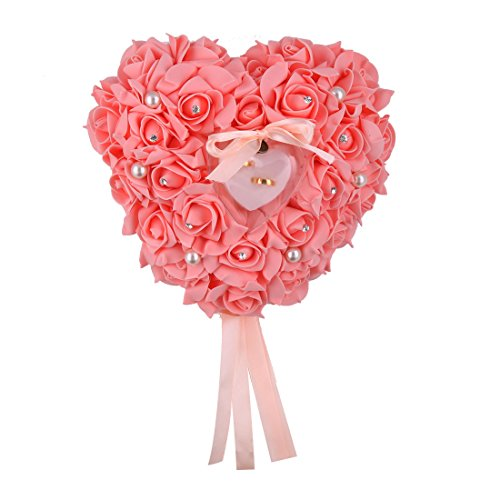 uxcell Foam Wedding Heart Design Decor Rose Flower Bridal Ring Pillow Box Coral Pink