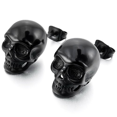 varios estilos San Francisco marca popular MunkiMix Acero Inoxidable Semental Pendientes El Tono De Plata Negro Cráneo  Calavera Hombre