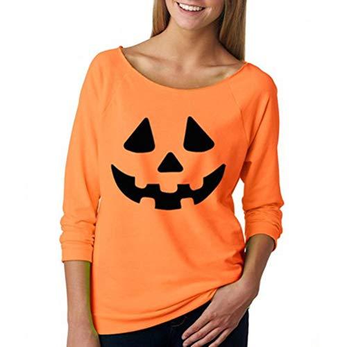 Women's Long Sleeve Halloween Costume Fun Pumpkin Face