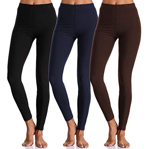 BAILYDEL Buttery Comfortable Seamless Super Soft Ankle Leggings for Women Slim Opaque Pants Color Black Brown Navy Size L XL Pack of 3 ()