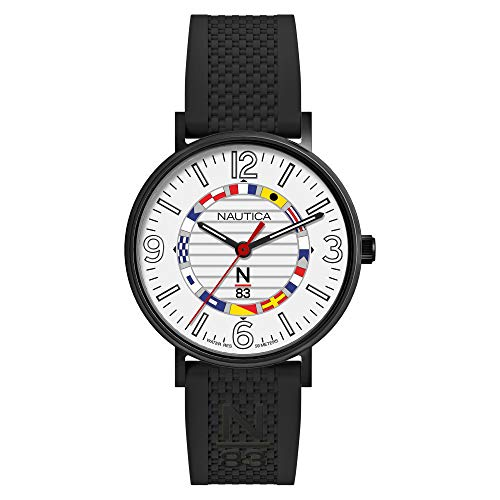 Nautica N83 Men's NAPWGS913 Wave Garden Black/White Silicone Strap Watch ()