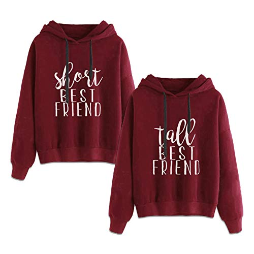 Best Friends Hoodies for 2 Girls BFF Jumper Matching Sweaters for Bestfriends (Red,Short-M+Tall-L)