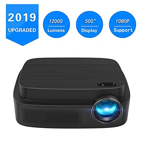 Portable Projector -12000 lumens WiFi 1080p Video Projector LCD LED Full HD Theater Proyector 500″ Big Display, Ideal for Home Entertainment