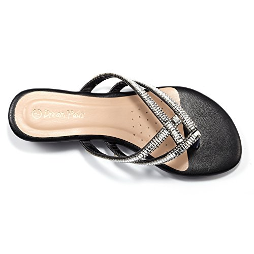 Jewel BLACK Rhinestones Fashion Design PAIRS DREAM Women's 01 Slides Sandals 1nqzZPE