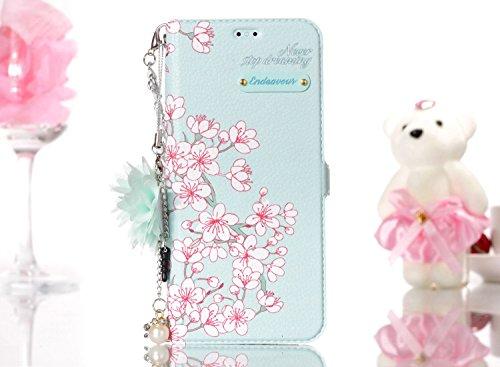 Funda Samsung Galaxy S8 plus,SainCat Funda de cuero sintético tipo billetera con correa de cordón de Suave PU Carcasa de la cubierta con pulseras de cadena de perlas de metal Case,Ranuras para Tarjeta Sakura
