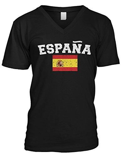 (Amdesco Men's Espana Flag, Flag of Spain, Spanish Flag V-Neck T-Shirt, Black Medium)