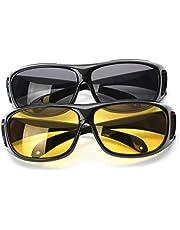 نظارة شمسية بعدسات مستقطبة عالية الوضوح للرؤية الليلية وقيادة السيارة بحماية من الاشعة فوق البنفسجية للجنسين، قطعتان