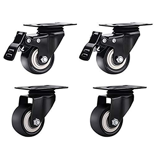 Furniture Castors Wheels Swivel Casters with Brake Flats Flying Pulley Trolley Wheels Install Light Furniture 2 Wheels Brake 2 Swivel Wheels (4 Pieces,2.5 inches) from LHF123