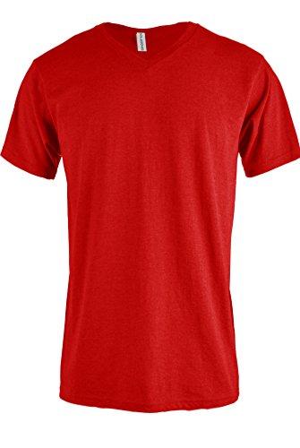 TL Men Casual Basic Short Sleeve Tri-Blend / 100% Cotton V-Neck T Shirt RVNECK RED L