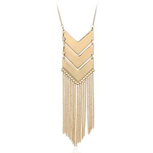 SRX JEWELRY Exaggerated Gold Platinum Plated Three V Shaped Long Alloy Chain Tassel Pendant Necklace (Gold)