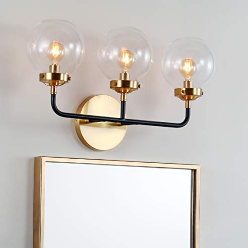 Jonathan Y Caleb 22″ Reversible Brushed Brass Gold and Clear Glass Globe Wall Sconce with 3 LED Bulb, Contemporary Transitional Mid-Century Style for Bathroom Bedroom Living Room