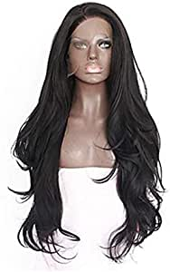 باروكة شعر مستعار لون اسود بشعر طويل مجعد بدانتيل امامي من الالياف الكيميائية 65-70 سم