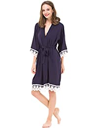 Women's Cotton Kimono Robe for Bride and Bridesmaid with Lace Trim