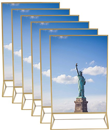 5 inches by 7 inches Gold Picture Table Top Clear Photo Frames - 6 pack