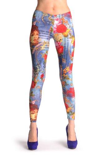 Happy Indian Girl & Flowers - Multicolore Leggings Taille Unique (32-38)