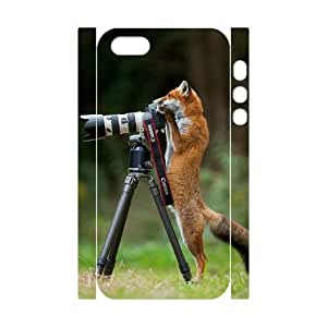 Custom Cover Case with Hard Shell Protection for Iphone 5,5S 3D case with Cute Fox lxa832059