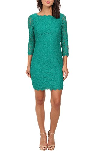 Berydress 3/4 Sleeve Full Zip Back Short Lace Cocktail Dress (10, Green)