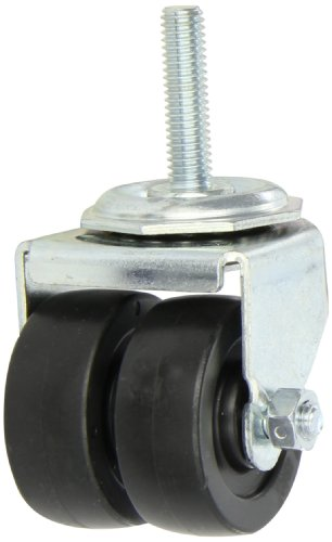 Shepherd-00-Series-2-Diameter-Polyolefin-Dual-Wheel-Swivel-Caster-38-Diameter-x-1-12-Length-UNC16-Threaded-Stem-225-lbs-Capacity-Zinc-Finish