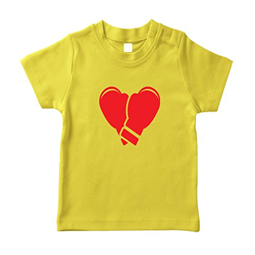 Cute Rascals Boxing Gloves Cotton Short Sleeve Crewneck Unisex Toddler T-Shirt Jersey - Yellow, 3T