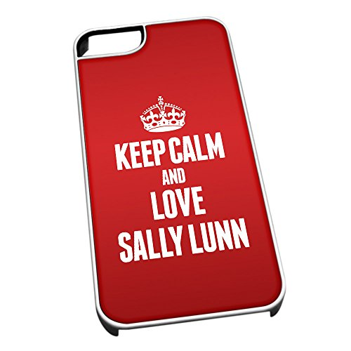 Bianco cover per iPhone 5/5S 1483Red Keep Calm and Love Sally Lunn