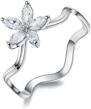 Redbarry Charm Flower CZ Diamond 8mm Anniversary Rings for Women, Size 5.5 to 9
