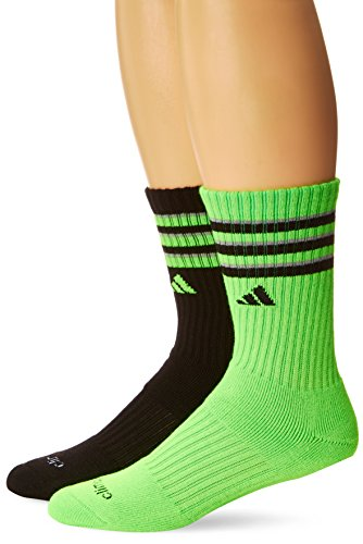 Adidas Youth Team Crew Socks (2-Pair), Solar Green/Black/Light Onix, Medium/13C-4Y
