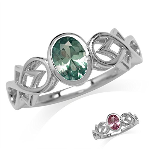 Silvershake Oval Shape Simulated Color Change Alexandrite 925 Sterling Silver Filigree Infinity Knot Ring Size 7