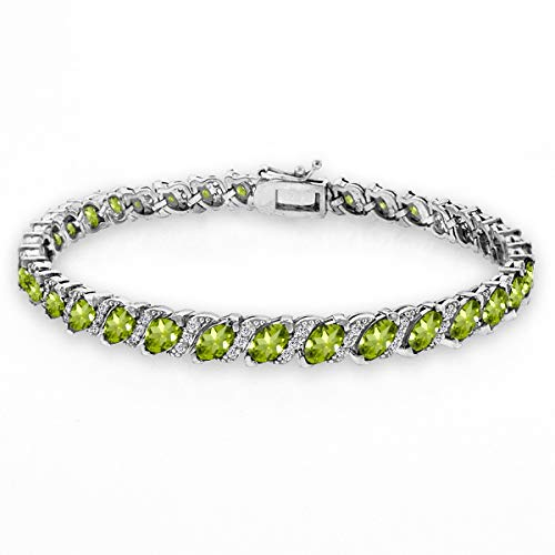 GemStar USA Sterling Silver Peridot Marquise-Cut 6x3mm Tennis Bracelet with White Topaz Accents