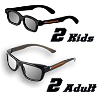 ED Family 4 Pack CINEMA 3D GLASSES KIT for LG 3D TVs – 2 Adult and 2 Kids Passive Circular Polarized 3D Glasses