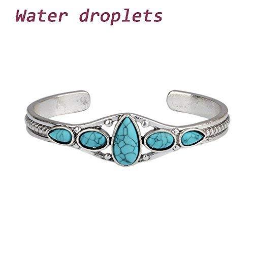 Saengthong Jewelry Vintage Lady Cuff Fashion Women Bracelet Adjustable Bangle Turquoise