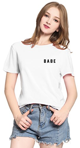PINJIA Womens Cute Letter Printed Graphic Funny Tshirts Top Tees(MX15)(XL,White Babe) ()