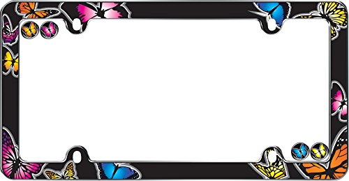 Cruiser Accessories 1 23053 Butterfly License Plate Frame, Chrome w/Fastener caps ()
