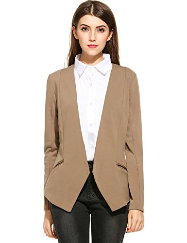 - ANGVNS Womens Long Sleeve Single Buttoned Blazer Jacket S to 2XL (Large, khaki)