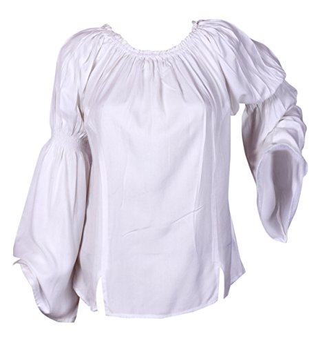 Caribbean Pirate Renaissance Wench Medieval Costume Girl White Blouse Top XXL