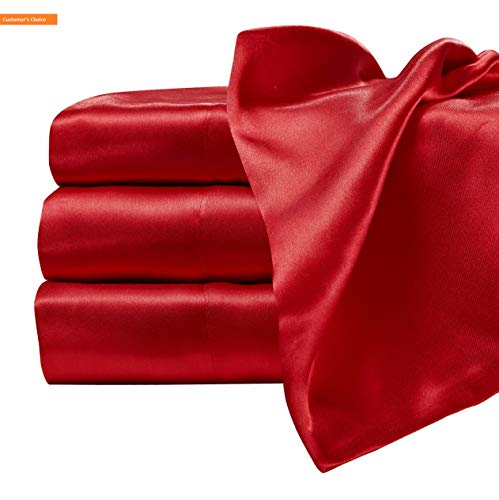 - Mikash New Soft 205 1SS Luxury Charmeuse Satin Sheet Set with Deep Fitting Pockets, 3 Piece Sheet and Pillowcase Set - Twin, Red | Style 84601358