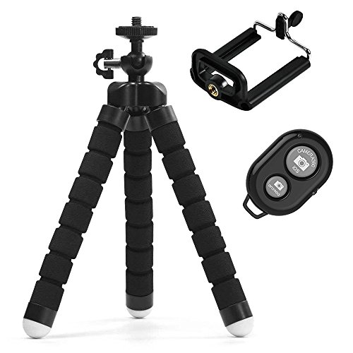 Adjustable Tripod Stand Holder for iPhone, Cellphone,Camera with Universal Clip and Remote